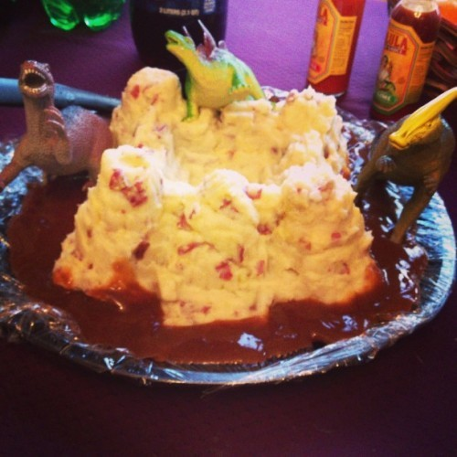 Dinosaur mashed potato castle