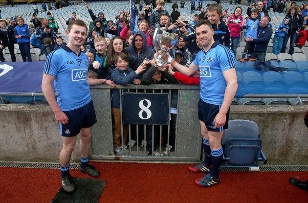 Jack McCaffrey and Paddy Andrews celebrate with supporters