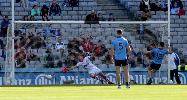 Diarmuid Connolly scores a penalty past Ken O'Halloran