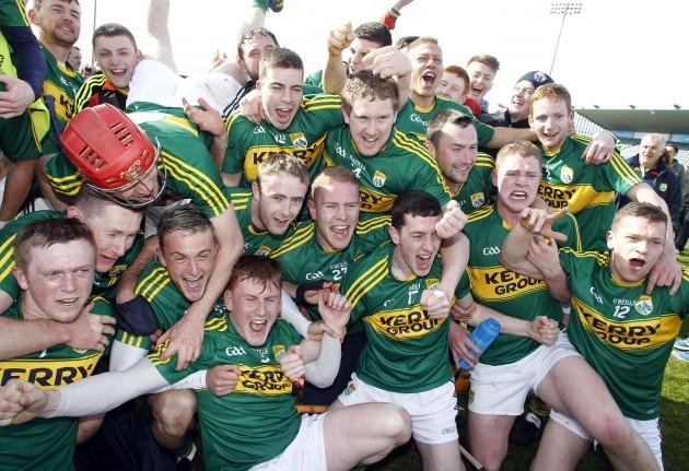 The Kerry team celebrate winning