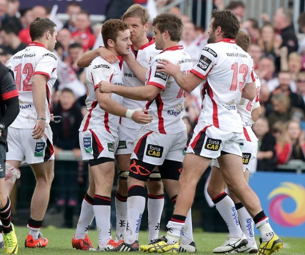 Paddy Jackson is congratulated by teammates after levelling the score with the last kick of the game