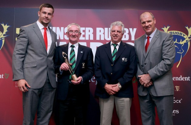 John Connery and Joe Wisener receives the Junior club of the year award on behalf of Clonmel from Dave Foley and Ultan O'Callaghan