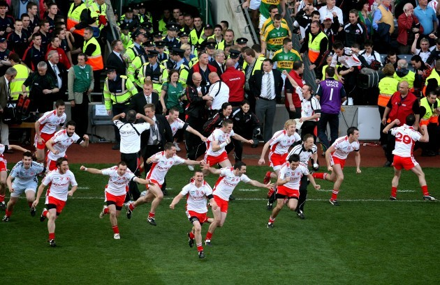 Tyrone footballers on the final whistle