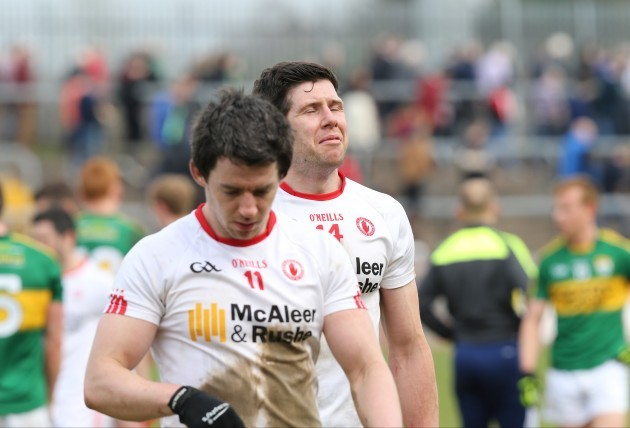 Sean Cavanagh and Mattie Donnelly dejected