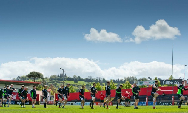 A general view of Munster training