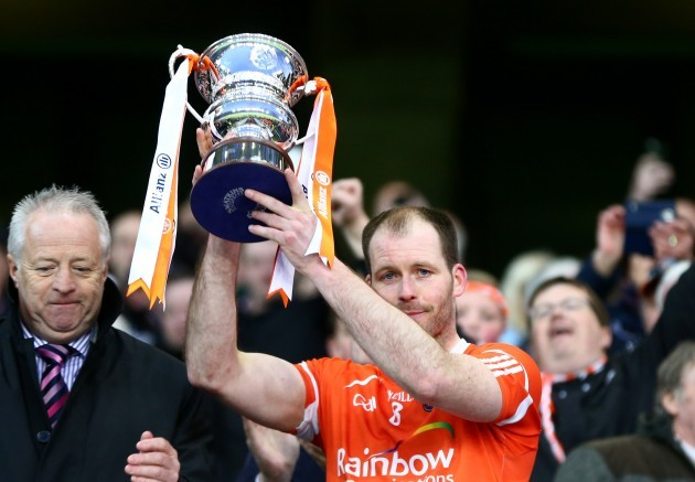 Ciaran McKeever lifts the cup