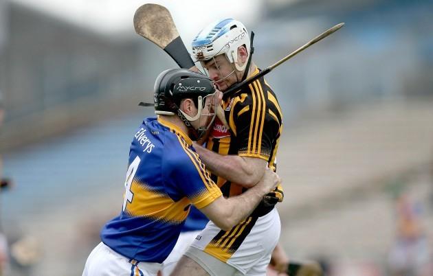Jonjo Farrell and Conor O'Brien clash off the ball