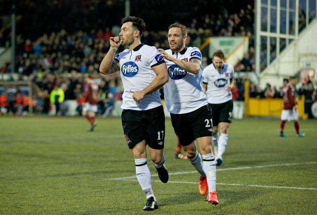 Richie Towell is congratulated by Darren Meenan