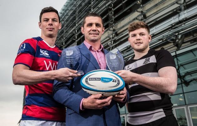 Matt DÕArcy (Clontarf), Ulster Bank Top Try Scorer and overall player of the year winner, Alan Quinlan and Josh Glynn (Old Belvedere), Ulster Bank Top Points Scorer winner