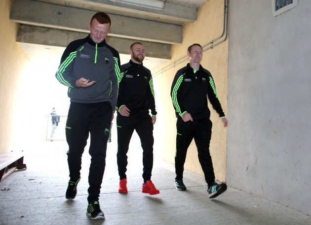 Johnny Buckley, Barry John Keane and Colm Cooper arrive