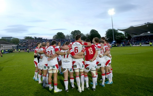 The Ulster team huddle after the game