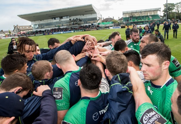 The Connacht team huddle after the game