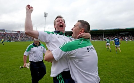 TJ Ryan celebrates with selector Paul Beary at the final whistle