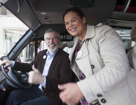 Pictured is Sinn Fein President Gerry Ad