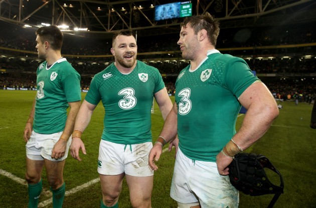 Cian Healy and Sean O'Brien celebrate