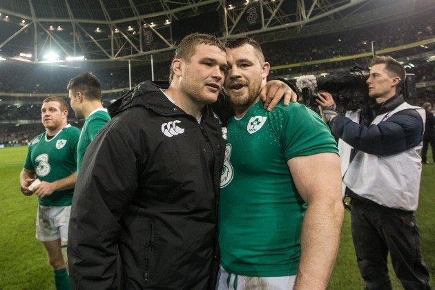 Jack McGrath and Cian Healy celebrate after the game