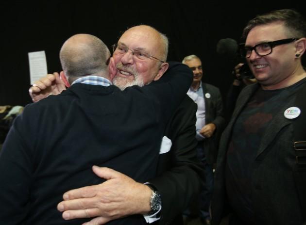 A happy Senator David Norris arrives at