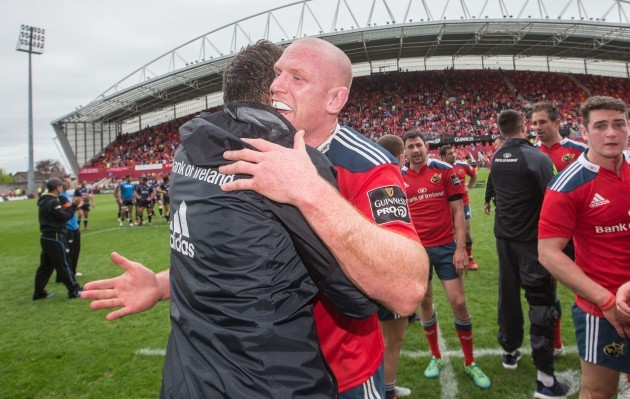 Donncha O'Callaghan celebrates with Paul O'Connell after the game