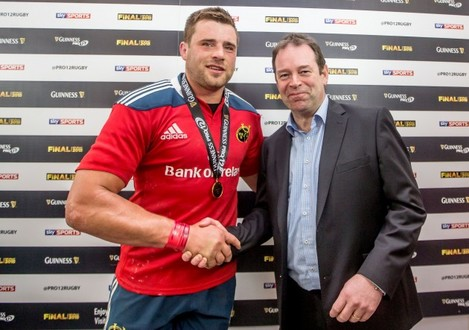 CJ Stander presented with his man of the match award by Ken O'Dea