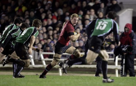 Paul O'Connell of Munster drives through the Connacht defence