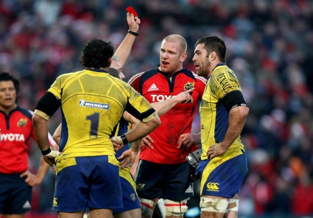 Jamie Cudmore is sent off following an incident with Paul O'Connell