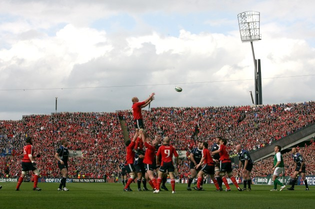 Paul O'Connell climbs for a line out