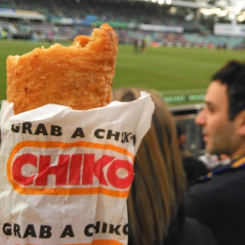Delicious Chiko Roll at the footy! #chikoroll #gourmet #foodporn #footy #parraeels #eels