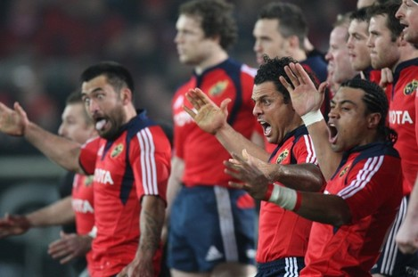 Rua Tipoki, Doug Howlett and Lifeimi Mafi lead the Munster Haka