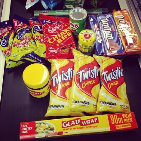 Last day shopping #australianessentials #timtams #vegemite #caramelokoalas #GLADWRAP #milo