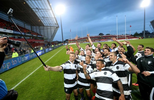 Zane Kirchner leads a selfie for the Barbarians