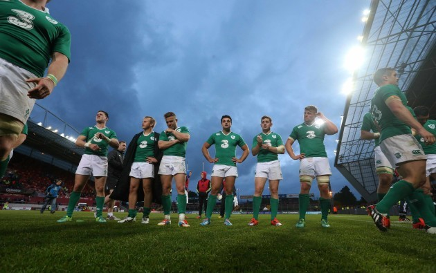 Craig Gilroy, Luke Marshall, Ian Madigan, Cian Kelleher, Paddy Jackson and Jordi Murphy dejected