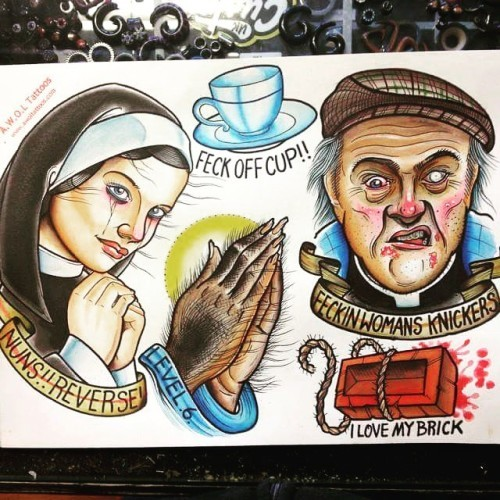 Some of @awoltattooer #FatherTed flash s...