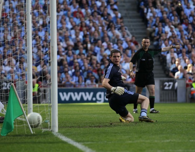 Stephen Cluxton is unable to save the penalty