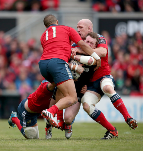 Paul O'Connell, Simon Zebo and Paddy Butler tackle Stuart Hogg