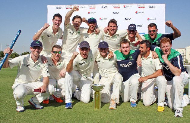 The Ireland team celebrate with the ICC Intercontinental Cup