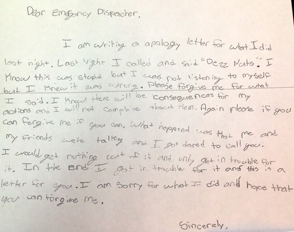 A kid pranked a police station and his parents made him write this