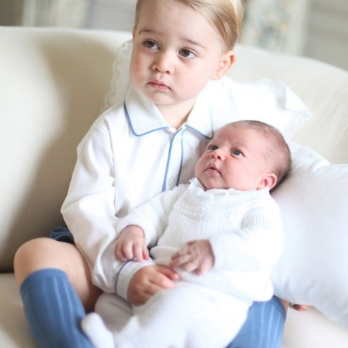Prince George and Princess Charlotte together at home. #WelcomeToTheFamily Photograph copyright of HRH The Duchess of Cambridge / @kensingtonroyal