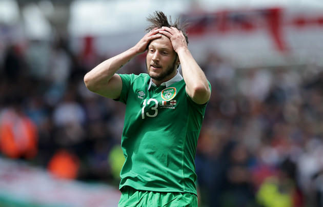 Harry Arter reacts to a missed shot