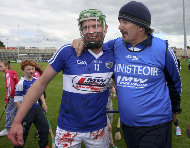 Seamus Plunkett is congratulated by Zane Keenan at the end of the game
