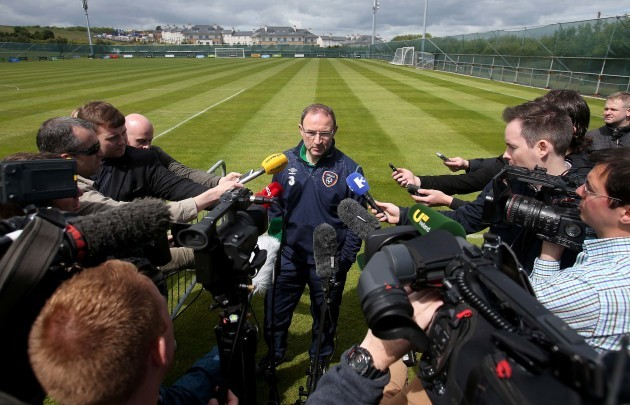 Martin O'Neill speaks to the press after training