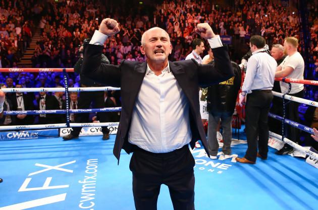 Barry McGuigan celebrates
