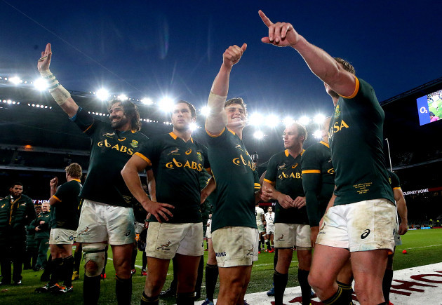 Victor Matfield, Jan Serfontein, Pat Lambie and Jean de Villiers celebrate