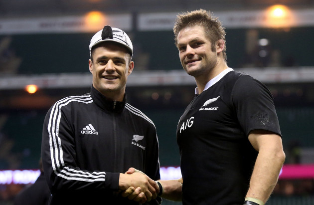 Richie McCaw presents Dan Carter with his 100th cap