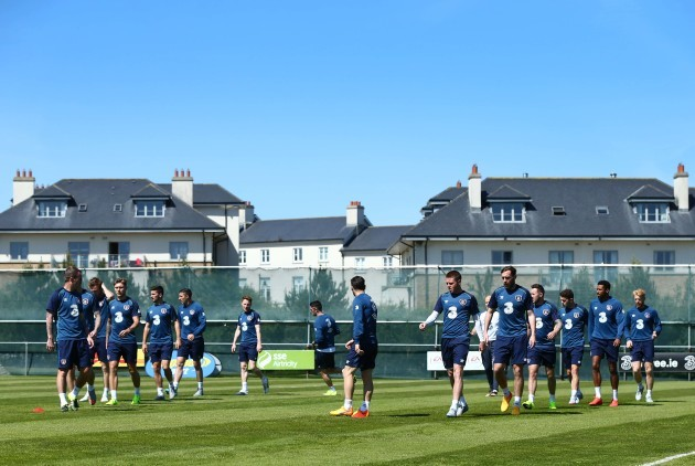 Ireland players during training today