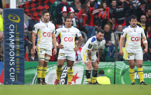 Disappointed Clermont Auvergne players Jamie Cudmore John Ulugia and Thomas Domingo