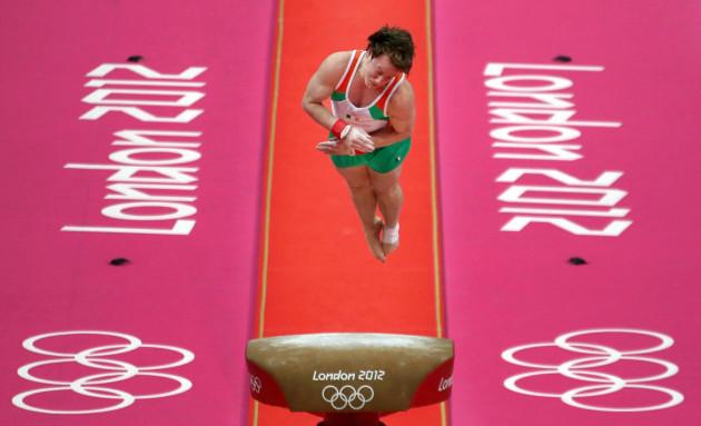 Kieran Behan competes in the vault 28/7/2012