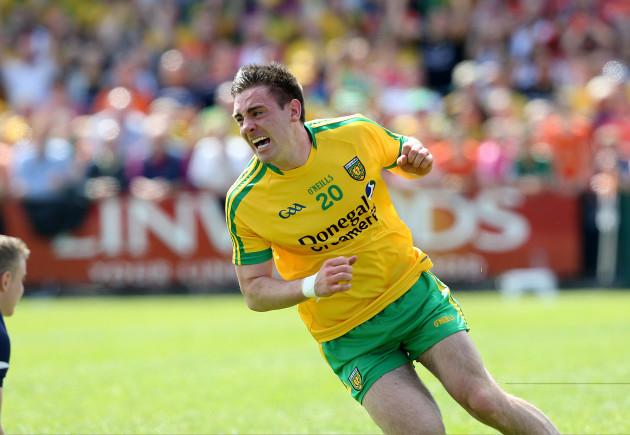 Martin O'Reilly celebrates scoring a goal