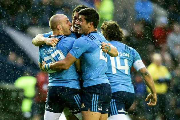 Giulio Bisegni, Luca Morisi and Tommaso Allan celebrate winning