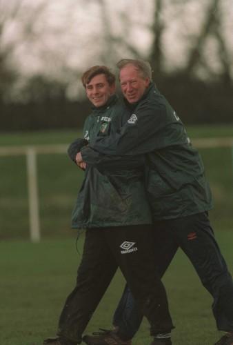 David Kelly & Jack Charlton Republic of Ireland soccer training 1995