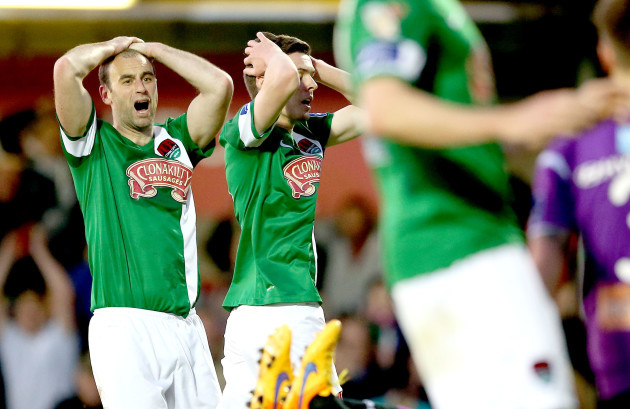 Dan Murray and Garry Buckley react after a missed chance